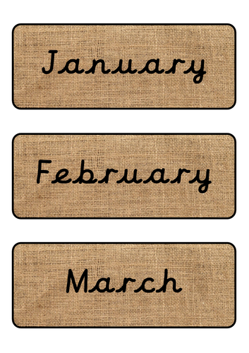 Hessian Months of the Year Cursive