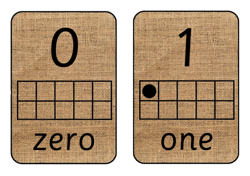 Hessian Number Cards with Ten Frame