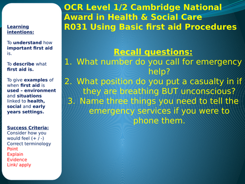 Health & Social OCR Cambridge Nationals COMPLETE R031 UNIT Lesson Resources