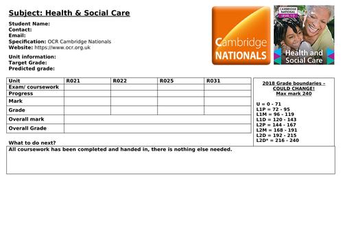 Health & Social OCR Cambridge Nationals Smith Proforma/ Student Progress Summary