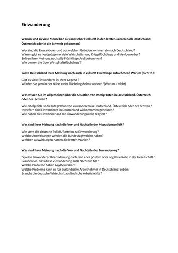 Mock questions for German AQA A2 topics