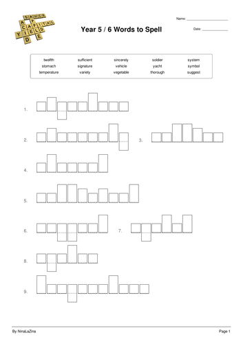 Year 5 and 6  Spelling Puzzle Test Worksheet