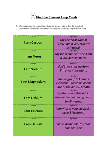 Find the Element Loop Cards