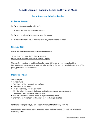 Remote learning listening and project work for Music - Samba