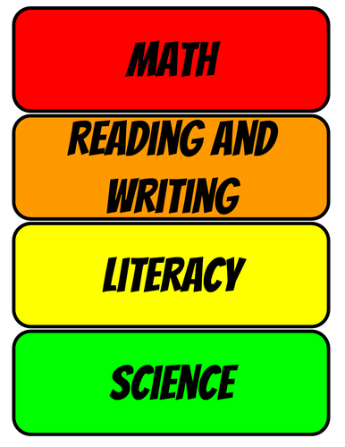 Classroom timetable cards (basic version)