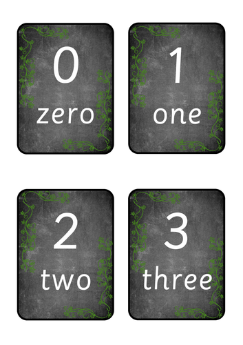 Chalkboard Number Cards with Words 1 - 10