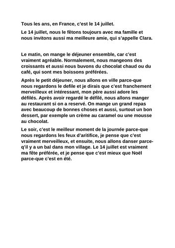 GCSE French AQA Theme 1 : celebrations. Exploiting texts