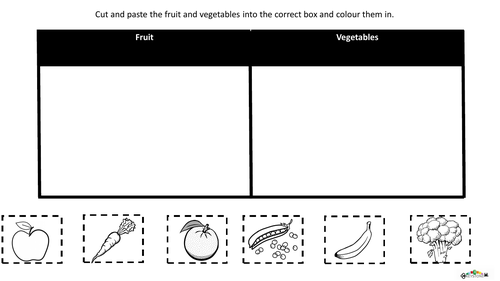 Cut and paste fruit and vegetables