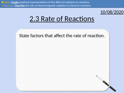 OCR Applied Science: 2.3 Rate of Reaction