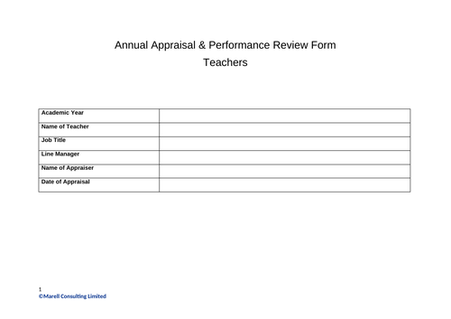 Annual Appraisal & Performance Review Template for Teachers