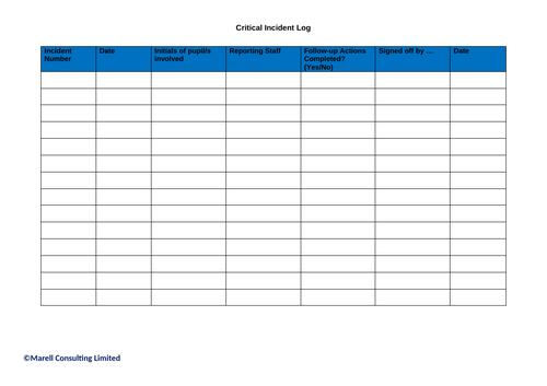 Critical Incident Log Sheet