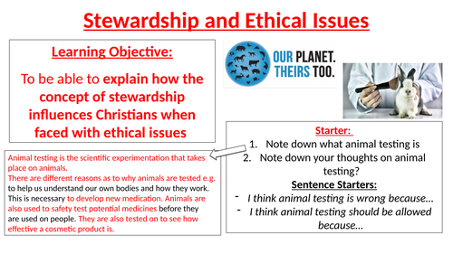 Stewardship and Ethical Issues - Animal Testing