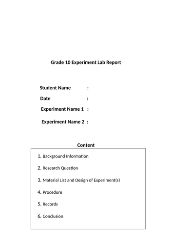 Chemistry Experiment Lab Report Template