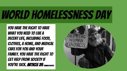 World homelessness day worksheet/fact sheet/teaching slides