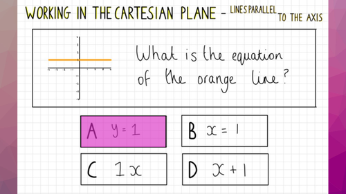 Lines parallel to the axis Quiz - White Rose Maths (Working in the Cartesian Plane Year 8)