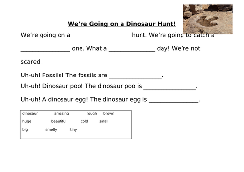We're going on a dinosaur hunt adjective activity