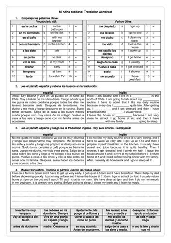 Spanish GCSE Mi rutina diaria: Daily Routine Translation Worksheet