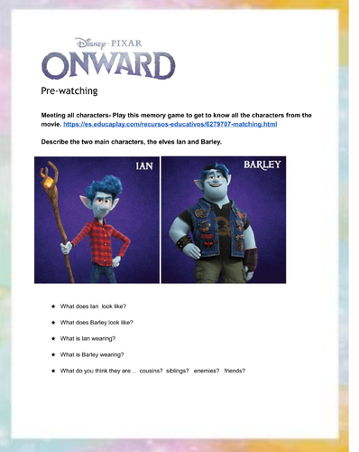 ONWARD - Disney movie worksheet