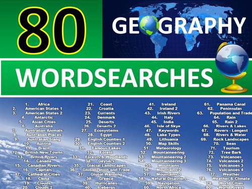 80 x Geography Wordsearches Starter Activities GCSE KS3 Wordsearch etc Cover Plenary Lesson