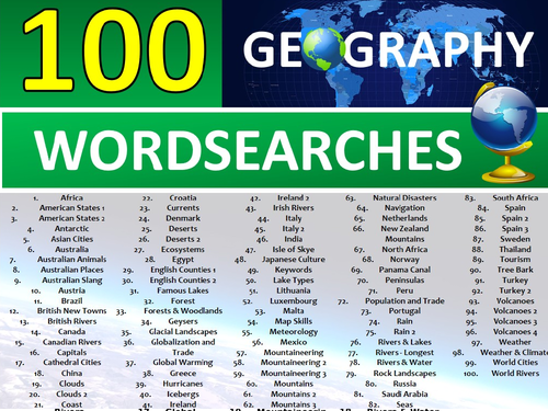 100 x Geography Wordsearches Starter Activities GCSE KS3 Wordsearch etc Cover Plenary Lesson