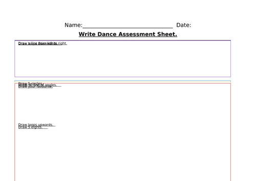 Write Dance Assessment Sheet