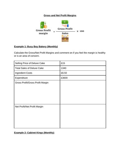 Gross/Net Profit Margin Calculations Worksheet