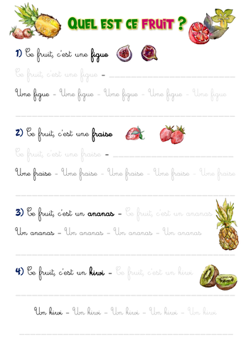 French handwriting: Fruits
