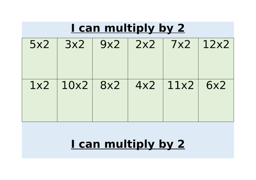 I can multiply by 2's, 3's and 4's