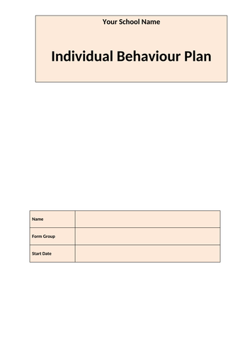 SEN - Behaviour Plan/Tracker