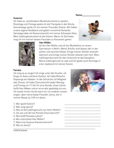 Musik Lesung: Instrumente/Singen/Chor: German Reading about Music