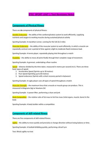 BTEC SPORT Unit 1 revision notes pack