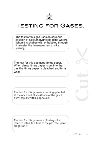 Testing for gases cut & stick