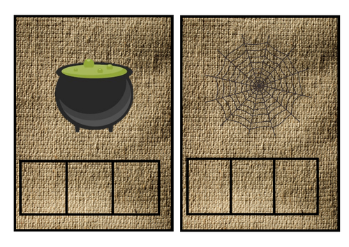 Room on the broom/ halloween CVC natural mats/ phoneme frames