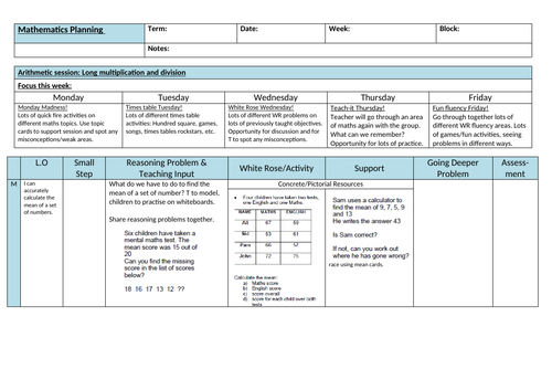 Year 6 Maths Planning (based on White Rose)