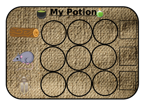 Potion writing with CVC words and picture prompts