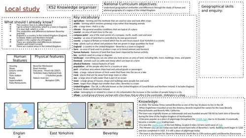 KS2 Geography Knowledge Organiser - Local study (Beverley, East Yorkshire)