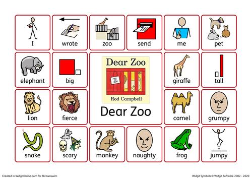 Dear Zoo Key Vocabulary Mat