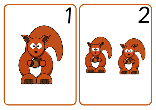 Squirrel Number Cards