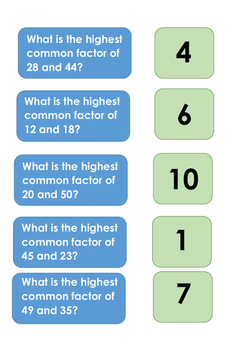 Common Factor Matching Game