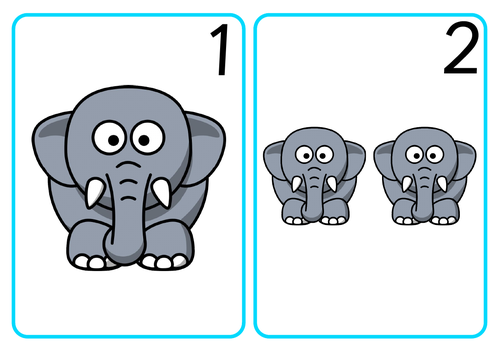 Elephant Number Cards
