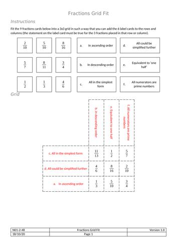 Grid Fit - Fractions