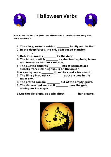 Halloween Verbs Teaching Resources