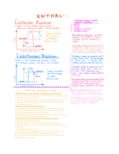 Enthalpy notes OCR Chemistry AS level   Teaching Resources