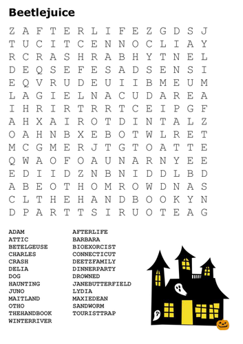 Beetlejuice Word Search