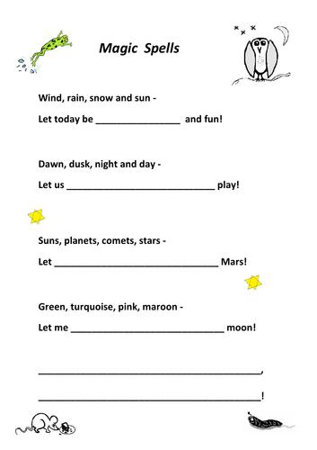 Magic Spells - wish-writing frames, rhyming