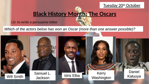 Black History Month: persuasive writing (The Oscars)