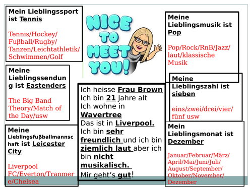 year 7 stimmt german unit 1 revision task template