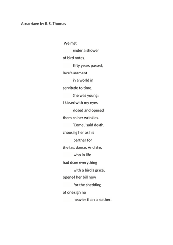 WJEC Welsh Poetry A Marriage R.S. Thomas