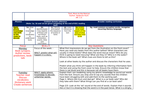 'Mum to the Rescue' guided reading plan