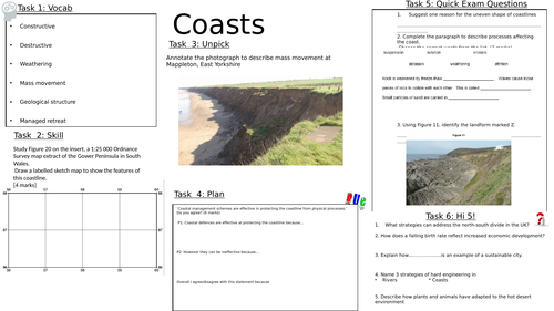 AQA Geography GCSE 8 Revision sheets, coasts, economic world, living world, resources, rivers